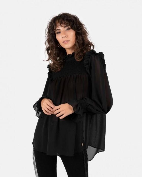 blusa gasa negro